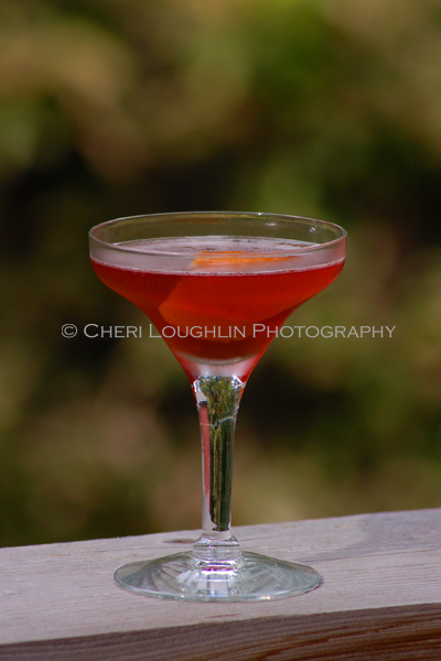 Wentworth Teenie is a lower calorie cocktail using Buffalo Trace Bourbon, Dubonnet Rouge and light cranberry juice. - recipe and photo by Mixologist Cheri Loughlin, The Intoxicologist