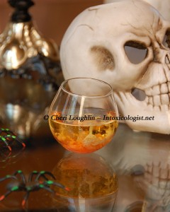 Bloodied Brains Halloween Shot - created by and photo copyright Cheri Loughlin - The Intoxicologist