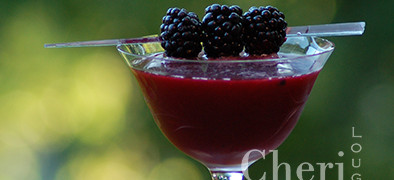 Crimson Raider Low Calorie Cocktail with cognac and fresh blackberries