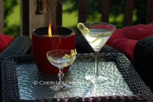 Two Martinis Outdoors 1 photocopyright Cheri Loughlin - Cocktail Stock Photography www.cheriloughlin.com