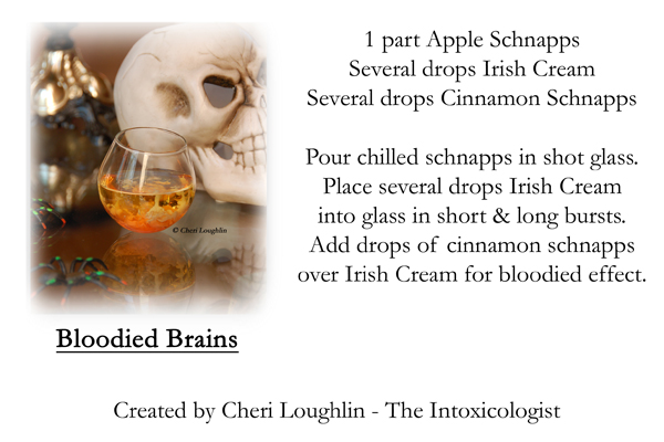 Bloodied Brains Shot recipe card - photo copyright Cheri Loughlin