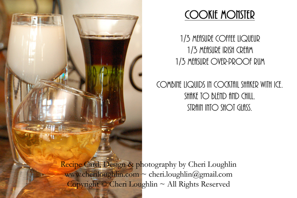 Cookie Monster Halloween Cocktail Recipe Card - photo copyright Cheri Loughlin