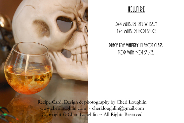 Hellfire Hallloween Cocktail Recipe Card - photo copyright Cheri Loughlin