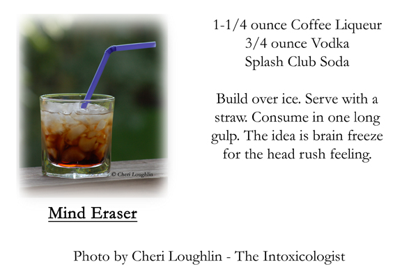 Mind Eraser Shot recipe card - photo copyright Cheri Loughlin