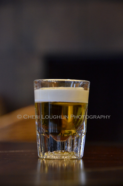 Licor 43 Mini Beer layered shot with heavy cream. Doesn't taste like beer at all. More like a creamsicle! - photo by Cheri Loughlin, The Intoxicologist