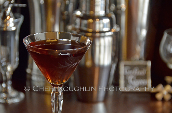Little Black Dress cocktail contains gin, Heering Cherry Liqueur, coffee liqueur, Galliano and chocolate bitters. – recipe by Mixologist Cheri Loughlin, The Intoxicologist
