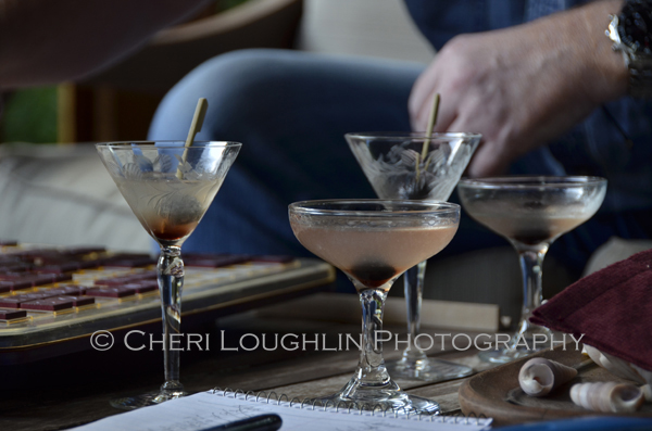Sampling the Aviation Cocktail - Aviation No. 1 uses Gin, lemon juice, maraschino liqueur and is served in a martini glass. Aviation No. 2 adds creme de violette for tiny bit smoother finish. - photo by Mixologist Cheri Loughlin [photo 090]