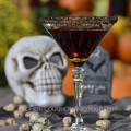 Devil's Double Chocolate Cake Cocktail: Chocolate and Vanilla Vodka, Hazelnut and Coffee Liqueur, Creme de Cacao and crushed chocolate cookie garnish. {recipe and photo credit: Mixologist Cheri Loughlin, The Intoxicologist. www.intoxicologist.net}