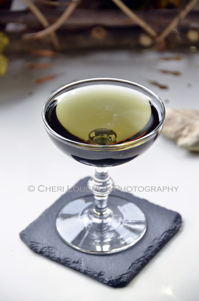 Emerald Dragon Cocktail is also known as the Black Martini made with Vodka, Chambord Black Raspberry Liqueur and Blue Curacao. {photo credit: Mixologist Cheri Loughlin, The Intoxicologist. www.intoxicologist.net}