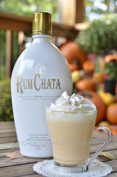 Pumpkin Pie White Hot Chocolate uses RumChata with 13.75% alcohol by volume in the recipe. Make a non-alcoholic version for the kiddos by skipping the Rum Chata. Use 1/2 cup white chocolate chips instead of 1/3 cup, add 1/8 to 1/4 teaspoon Pumpkin Pie Spice according to taste and an additional 1 ounce Half & Half to the recipe. {recipe and photo credit: Mixologist Cheri Loughlin, The Intoxicologist. www.intoxicologist.net}