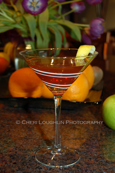 Ruby Twist 032 This little gem of a cocktail uses reposado tequila, pomegranate liqueur and premium orange liqueur. Ruby Twist weighs in at about 48.63 proof. - recipe and photo credit: Mixologist Cheri Loughlin of The Intoxicologist {http://intoxicologist.net}