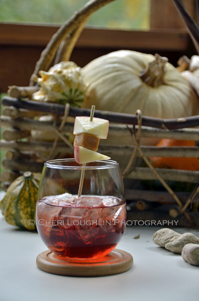 Red Reindeer Punch is a luscious caramel apple served over ice without a wallop of alcohol banging you over the head. {recipe and photo credit: Mixologist Cheri Loughlin, The Intoxicologist www.intoxicologist.net}