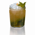 Louisiana Jam 1-1/2 ounce Southern Comfort 3/4 ounce Lemon Juice 3/4 ounce Apple Juice 2 teaspoons Apricot Jam 8 Mint Leaves 1/4 ounce