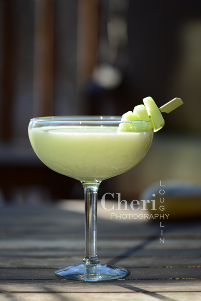 Honeydew Me Daiquiri – recipe by Cheri Loughlin, The Intoxicologist 2 ounces Shellback Silver Rum 1 cup fresh Honeydew Melon – cut small chunks 1 ounce fresh Lime Juice 1-3/4 ounce Cream of Coconut 1 cup Crushed Ice Honeydew Slices Garnish