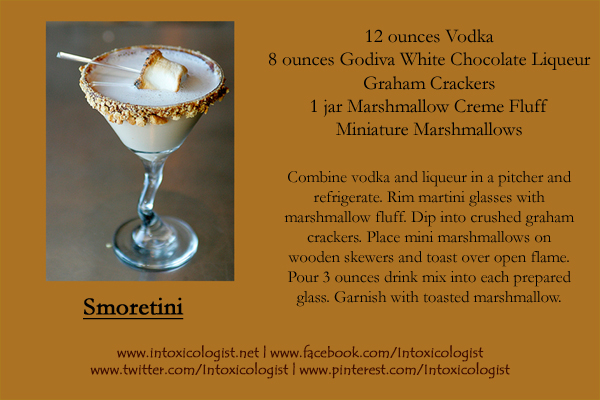 Smoretini Halloween Recipe Card - photo and recipe provided by brand representatives. Recipe card created by Cheri Loughlin, The Intoxicologist LLC