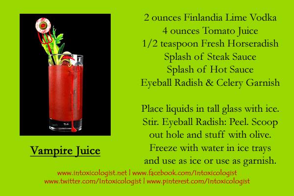 Finlandia Vampire Juice Recipe Card - photo and recipe provided by brand representatives. Recipe card created by Cheri Loughlin, The Intoxicologist LLC